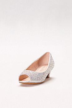 Girls Crystal-Embellished Low-Heeled Peep-Toes KSURI-11