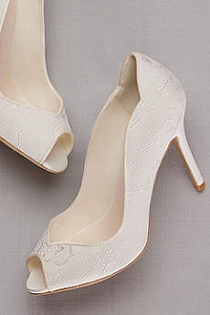 David's Bridal Ivory Peep Toe Shoes (Lace Peep Toe Pump)