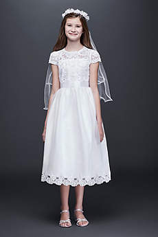 Illusion Flower Girl Dress with Appliqued Skirt