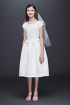 Lace and Satin A-Line Communion Dress