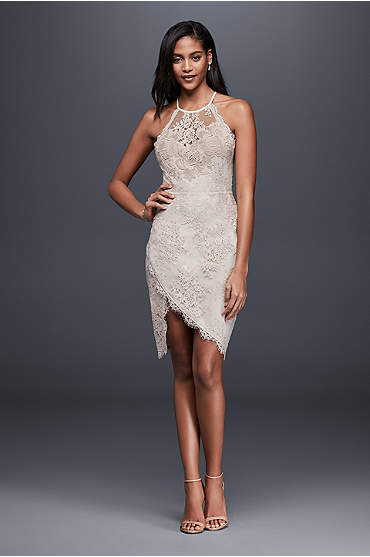 Ivory lace mini dress with asymmetrical hem