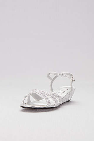 Touch Ups Grey Glitter MiniWedge Sandals with Woven Straps