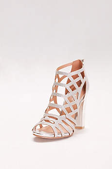 Bamboo Grey Peep Toe Shoes (Glitter Cage Block Heels)
