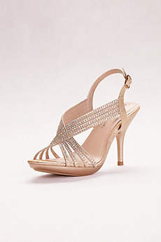 Blossom Beige Peep Toe Shoes (Crystal Slingback Sandals)