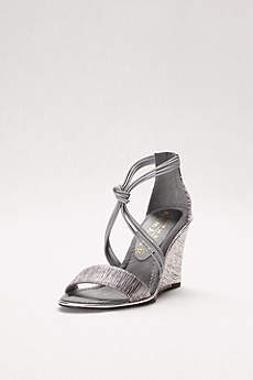 New York Transit Grey Wedge Shoes (Textured Wedges with Knotted Elastic Straps)