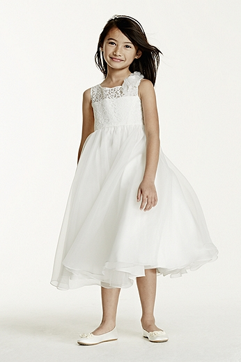 Tank Organza Tea Length Ball Gown with Lace LK1345