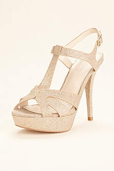 David's Bridal Grey Peep Toe Shoes (T Strap High Heel Platform Sandal)