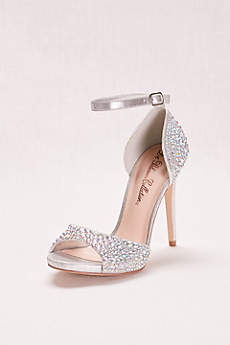 Blossom Grey Peep Toe Shoes (Crystal Peep Toe High Heel with Ankle Strap)