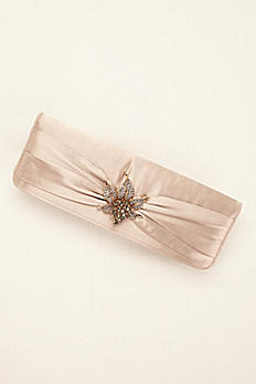 Satin Clutch with Crystal Ornament by Menbur LUANG