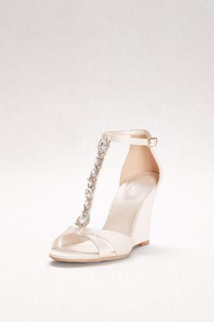 Crystal T Strap Satin Wedges David S Bridal