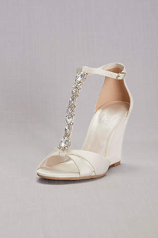 David S Bridal Ivory Wedge Shoes Crystal T Strap Satin Wedges