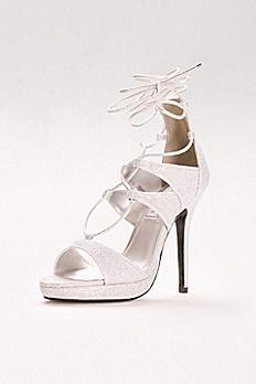 Luna Lace-Up Glitter Platform Heels 4193
