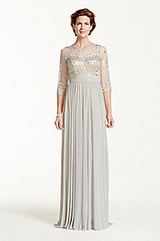 3/4 Sleeve Beaded Bodice with Long Mesh Skirt M2210
