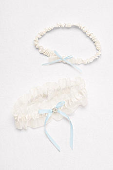 Ruffled Organza Garter Set with Ribbon Bows M81751