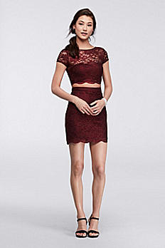 Homecoming Two Piece Lace Crop Top and Skirt M94031HUAD