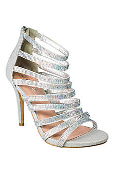 Blossom Beige Sandals (Strappy Cage Heels with Crystal Straps)