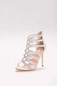 Blossom Beige Sandals (Embellished Strappy Cage Heels)