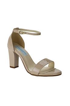 Dyeables Beige (Patent Ankle-Strap Block Heel Sandals)