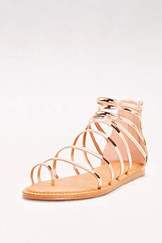 Bamboo Pink Sandals (Simple Strappy Toe-Loop Gladiator Sandals)