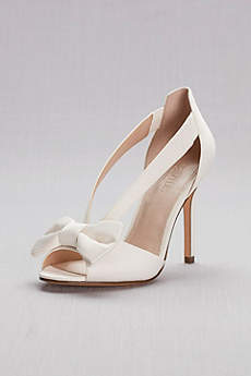 David's Bridal Blue Peep Toe Shoes (Two-Piece Strappy Bow Pumps)