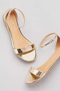 David's Bridal Yellow Sandals (Single-Strap Mirror Metallic Flat Sandals)