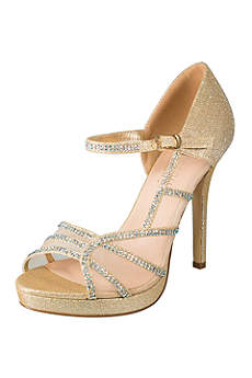 Blossom Ivory Peep Toe Shoes (Rhinestone-Scalloped Mesh Mary-Jane Platform Heels)