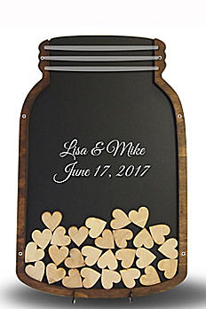 Personalized Mason Jar Drop Heart Guest Book MASON00