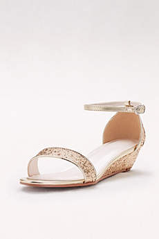 Glittery Low-Wedge Sandals
