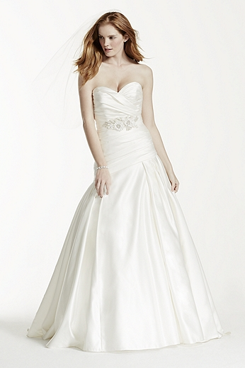 Strapless Satin A-Line Wedding Dress with Ruching MB3651