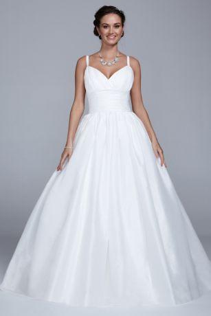Cap sleeve taffeta ball gown with detachable skirt for Removable skirt wedding dress davids bridal