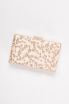 Rose Gold Glitter Leaves Minaudiere MB984