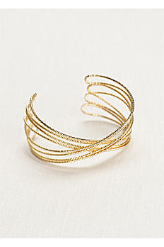 Diamond Cut Metal Crisscross Cuff MBR13710