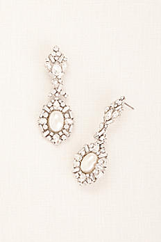 Deco Rhinestone Pearl Statement Earrings ME18631