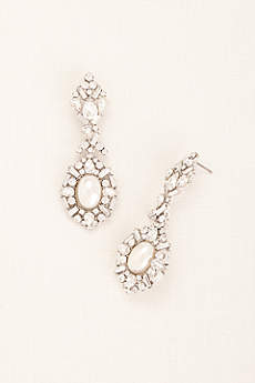 Deco Rhinestone Pearl Statement Earrings