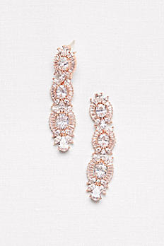 Linear Crystal Sunburst Earrings ME25840