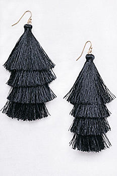 Tiered Thread Tassel Earrings ME31859
