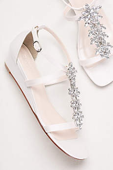 David's Bridal White Wedge Shoes (Starburst Crystal Satin Mini Wedge Sandals)