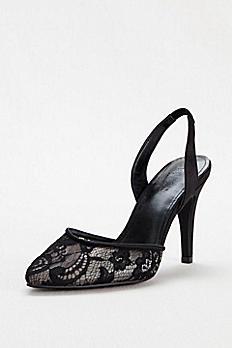 Pointed Toe Illusion Lace Slingback Mid Heel MIRANDA
