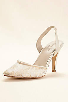 David's Bridal Ivory Closed Toe Shoes (Pointed Toe Slingback Mid Heel)