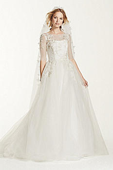 Jewel 3/4 Sleeve Illusion Neckline Wedding Dress MK3723