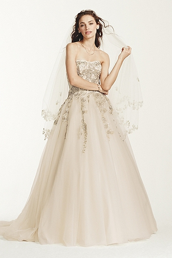 Strapless Tulle Ball Gown with Venise Lace Detail MK3724