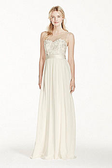 Illusion Tank Chiffon Wedding Dress with Lace MK3747