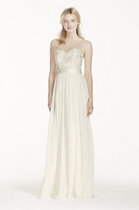 illusion tank chiffon wedding dress with lace davids bridal