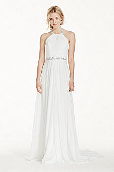 Halter Crinkle Chiffon Wedding Dress with Beading MK3748
