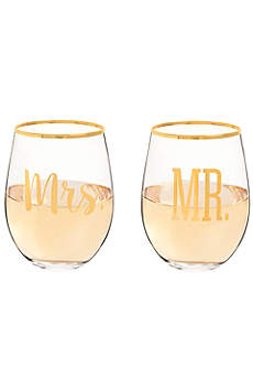 Mr and Mrs Gold Rim Stemless Glasses with Gift Box