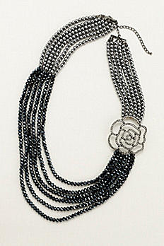 Pearl and Bead Necklace with Crystal Rose MNJ16290