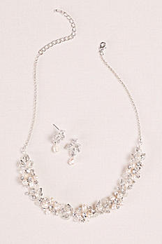 Cultured Pearl and Leaf Necklace and Earring Set MNJ25849S