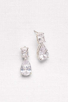 Emerald- and Pear-Cut Cubic Zirconia Earrings