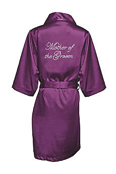 Rhinestone Mother of the Groom Satin Robe