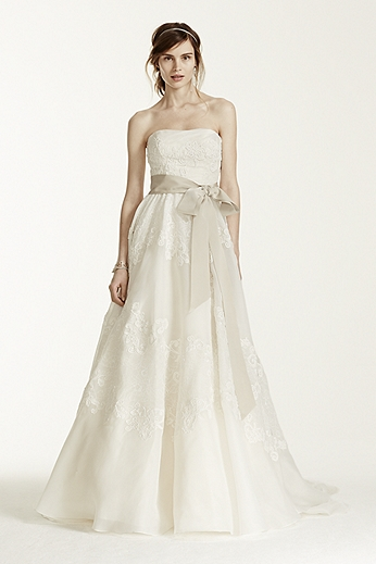 Strapless Satin Organza Gown with Antique Lace MS251001
